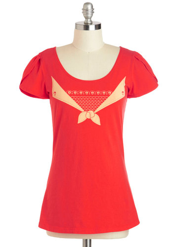 Fun in the Sunfish Top - Nautical, Cotton, Mid-length, Red, Tan / Cream, Casual, Short Sleeves, Scoop, Solid, Bows, Travel