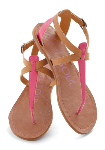 Raise the Sandbar Sandal in Sorbet - Pink, Tan / Cream, Flat, Summer, Casual, Beach/Resort, Boho, Faux Leather