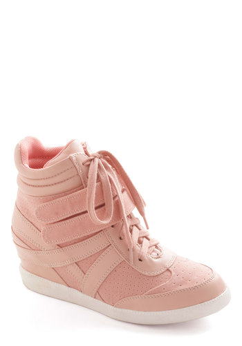 Hi-Top of the World Wedge in Blush - Pink, Urban, Wedge, Lace Up, Mid, Solid, Casual, Vintage Inspired, 80s