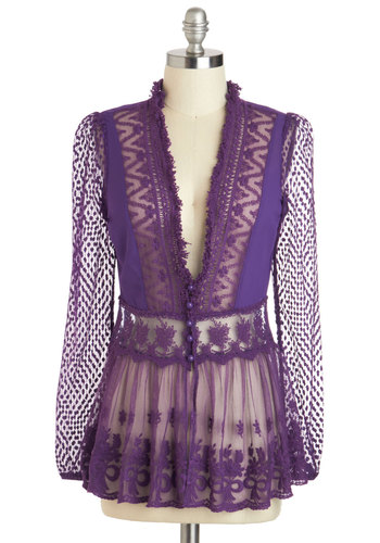 Delicate Diner Cardigan - Purple, Solid, Lace, Work, Long Sleeve, Sheer, Mid-length, Buttons, Party, French / Victorian