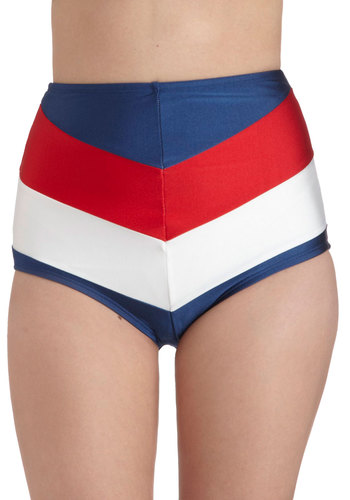 Sailorette at Sea Swimsuit Bottom in Red & Blue by Fables by Barrie - Red, White, Chevron, Beach/Resort, Nautical, Rockabilly, Pinup, Vintage Inspired, 40s, 50s, High Waist, Summer, Blue, Variation, Underwire, Americana