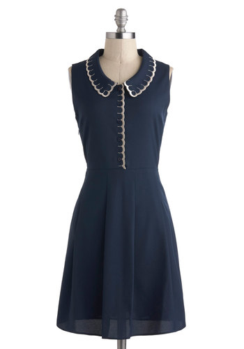 True To Scallop Dress - International Designer, Mid-length, Blue, Silver, Solid, Buttons, Peter Pan Collar, Pockets, Casual, A-line, Collared, Scallops, Work, Sleeveless