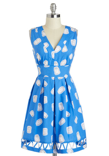 Firefly Away Glow-in-the-Dark Dress - Blue, White, Novelty Print, Cutout, Pleats, Casual, A-line, Sleeveless, V Neck, International Designer, Cotton, Mid-length, Quirky, Summer