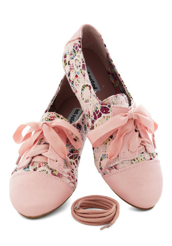 A Study in Scenery Flat - Pink, Multi, Floral, Lace, Casual, Flat
