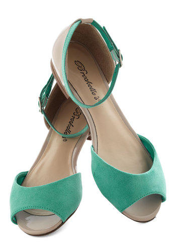 Boardwalk Brunch Flat in Ice - Green, Tan / Cream, Colorblocking, Flat, Peep Toe, Casual, Spring