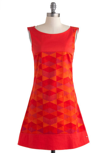 Fondue I Ever Dress by Skunkfunk - Red, Orange, Purple, Print, Party, Sheath / Shift, Sleeveless, Boat, Daytime Party, Vintage Inspired, 60s, Mod, Cotton, Mid-length, Eco-Friendly