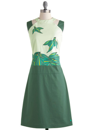 Flight Patterns Dress by Skunkfunk - Green, Multi, Print with Animals, Daytime Party, Sheath / Shift, Sleeveless, Crew, Cutout, Vintage Inspired, Luxe, Long, Eco-Friendly