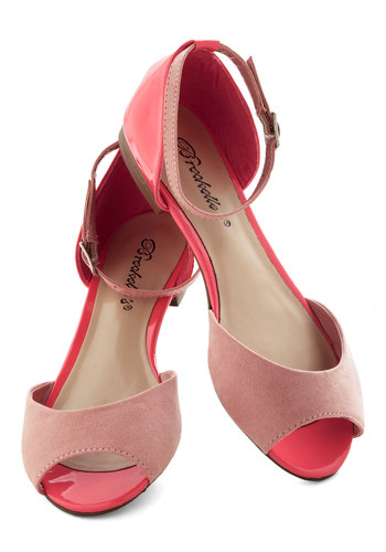 Boardwalk Brunch Flat in Guava - Pink, Coral, Colorblocking, Flat, Peep Toe, Casual, Spring