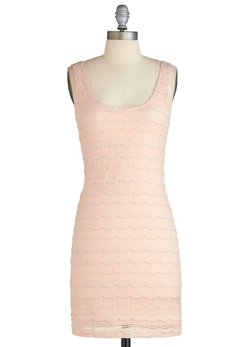 Got a Blush on You Dress - Mid-length, Pink, Solid, Crochet, Scallops, Bodycon / Bandage, Tank top (2 thick straps), Scoop, Party, Daytime Party