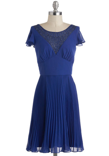 All That Pizzazz Dress by Max and Cleo - Blue, Beads, Pleats, Short Sleeves, Solid, Mid-length, Cocktail, Holiday Party, A-line, 20s, 30s, Luxe, Prom, Vintage Inspired, Top Rated
