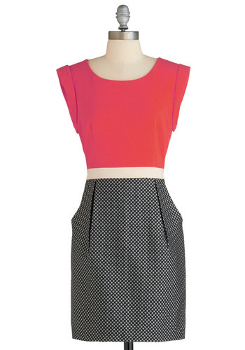 Office Adorable Dress - Mid-length, Black, White, Buttons, Pockets, Work, Shift, Cap Sleeves, Scoop, Pink