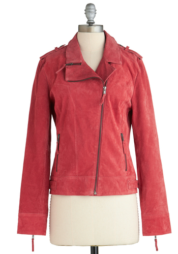 Entrepreneurial Charm Jacket - Coral, Solid, Long Sleeve, 2, Red, Exposed zipper, Casual, Urban, Winter, Short