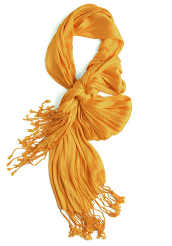 Crinkle in Time Scarf in Glow - Yellow, Solid, Fringed, Party, Casual, Fall, Minimal