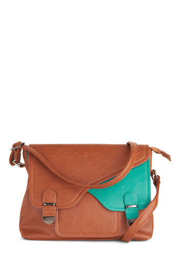Teal for Two Bag - Brown, Buckles, Pockets, Casual, Blue