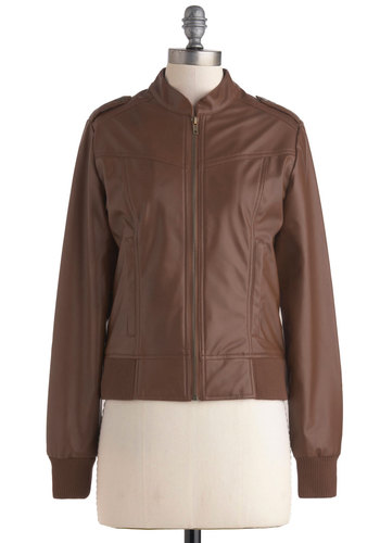 Every Jacket Has Its Jill by Jack by BB Dakota - Brown, Solid, Exposed zipper, Pockets, Long Sleeve, Casual, Menswear Inspired, Fall, Short, 2, Top Rated
