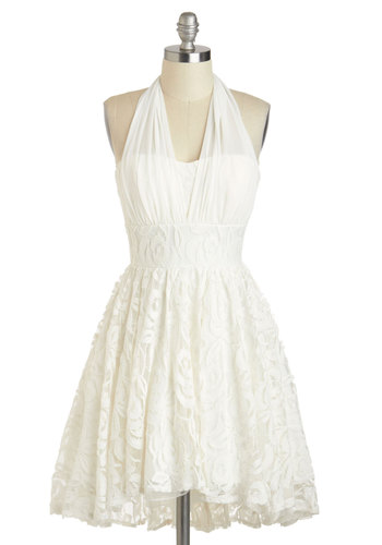 I Do Declare! Dress - White, Solid, Lace, Wedding, Party, A-line, Halter, Graduation, Fairytale, Prom, Bride