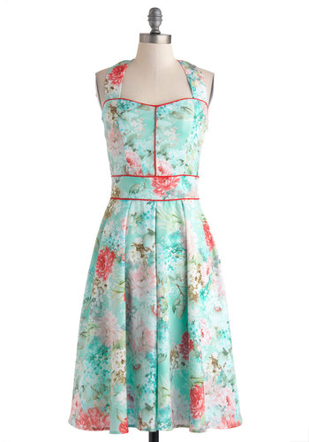 Garden Arty Dress - Long, Blue, Multi, Floral, Pleats, Daytime Party, A-line, Halter, Pastel