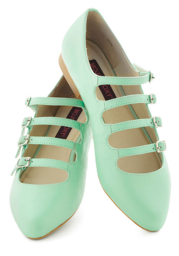 Homemade Ice Cream Flat in Mint - Mint, Solid, Buckles, Cutout, Pastel, Mary Jane, Leather, Flat, Daytime Party