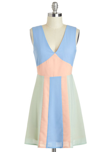 Shore as Ever Dress - Blue, Mint, Backless, Party, Colorblocking, A-line, Sleeveless, V Neck, Short, Pink, Pastel, Summer