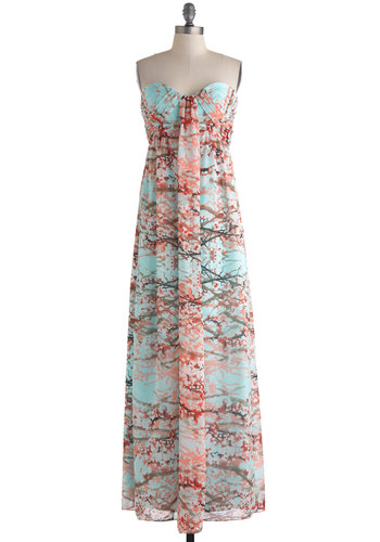 Branches of Beauty Dress - Blue, Red, Brown, Print, Cocktail, Empire, Maxi, Strapless, Sweetheart, Wedding, Beach/Resort, Luxe, Pastel, Summer, Long, Prom