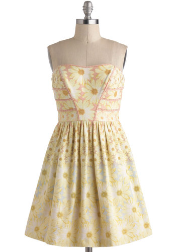 Daisy Sunday Dress - Yellow, Blue, Pink, Floral, Pockets, Trim, Daytime Party, Fit & Flare, Strapless, Sweetheart, Wedding, Luxe, Mid-length, Cotton, Graduation, Bridesmaid