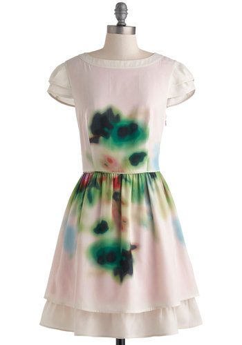 Blurred to the Wise Dress - Pink, Green, White, Buttons, A-line, Cap Sleeves, Boat, Wedding, Party, Vintage Inspired, Luxe, Fairytale, Mid-length, Prom, Bridesmaid, Tiered, Graduation