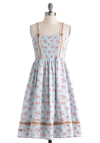Since You Been Bonn Dress by Blutsgeschwister - International Designer, Mid-length, Blue, Multi, Floral, Trim, Casual, A-line, Strapless, Buckles, Vintage Inspired, Spring, Summer, Cotton