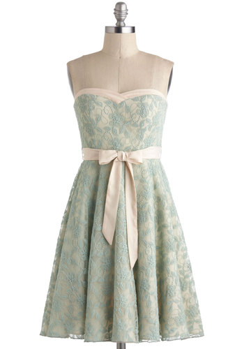 A Chance to Dance Dress in Mint - Mint, Solid, Lace, A-line, Sweetheart, Tan / Cream, Belted, Strapless, Vintage Inspired, 50s, Pastel, Daytime Party, Mid-length