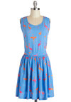 Flamingo for It Dress by Sugarhill Boutique - International Designer, Blue, Orange, Pink, Print with Animals, Cutout, Casual, A-line, Sleeveless, Scoop, Beach/Resort, Mid-length