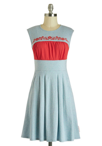 Urban Homesteader Dress by Blutsgeschwister - International Designer, Cotton, Mid-length, Blue, Red, Bows, Embroidery, Pockets, Casual, A-line, Sleeveless, Crew