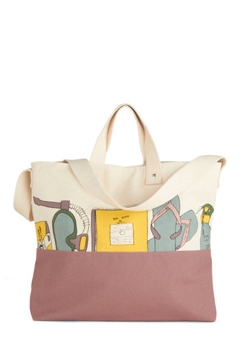 Beachy Beauty Bag by Nice Things - International Designer, Cotton, Purple, Multi, Novelty Print, Casual, Beach/Resort, Travel, Summer
