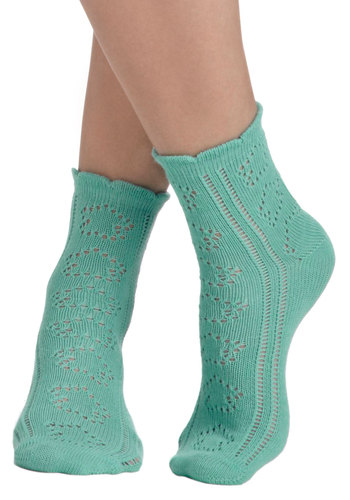 Knit Must Be Love Socks by PACT - Blue, Solid, Knitted, Eco-Friendly, Knit