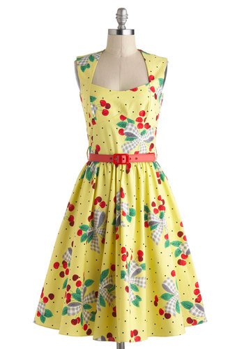 I'm All Cheers Dress in Cherries Jubilee by Bernie Dexter - Long, Cotton, Yellow, Multi, Novelty Print, Belted, Daytime Party, Fruits, Fit & Flare, Sleeveless