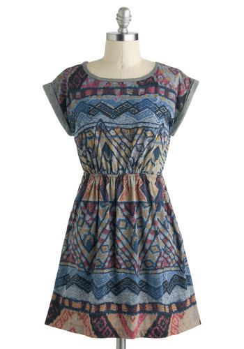 Meet a Prints Dress - Short, Print, Cutout, Pockets, Casual, A-line, Cap Sleeves, Scoop, Multi