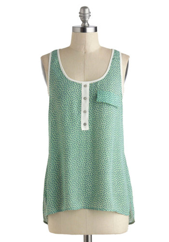 Here Comes Bubble Top - Sheer, Mid-length, Green, White, Print, Buttons, Casual, Tank top (2 thick straps), Beach/Resort, Summer, Travel