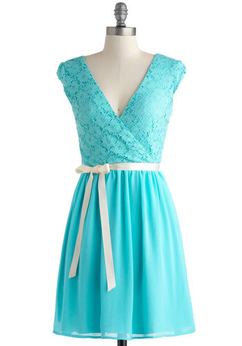 Champagne at Midnight Dress in Pale Sky - Blue, Solid, Lace, Belted, Party, A-line, Wrap, Cap Sleeves, V Neck, Mid-length, Prom