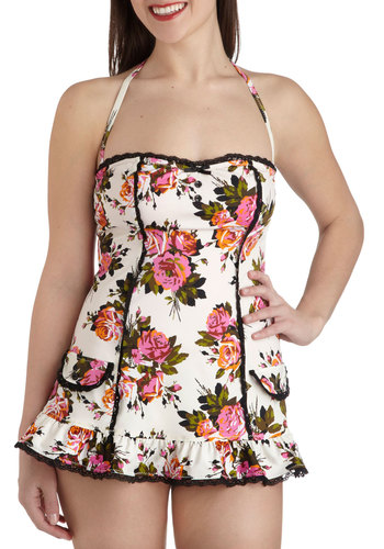 Betsey Johnson View From the Topiary One Piece by Betsey Johnson - White, Floral, Bows, Buttons, Pockets, Trim, Beach/Resort, Strapless, Halter, Summer, Multi, Lace, Ruffles