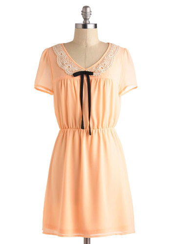 Peach of Mind Dress - Orange, Tan / Cream, Peter Pan Collar, Short Sleeves, Short, Bows, Casual, A-line, Crochet, Vintage Inspired, Pastel, Spring, V Neck, Summer