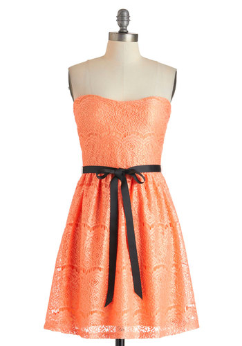 Exquisite Visit Dress in Apricot - Short, Coral, Solid, Lace, Belted, Party, A-line, Strapless, Sweetheart, Prom, Wedding, Bridesmaid