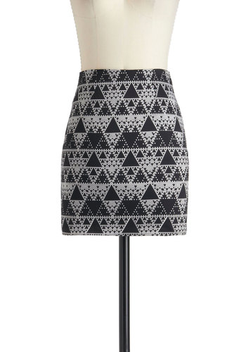 Fashionably Triangulate Skirt by Motel - International Designer, Cotton, Short, Multi, Black, White, Print, Party, Mini, Bodycon / Bandage, Exposed zipper, Girls Night Out