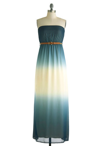 Shades of Paradise Dress - Blue, White, Belted, Maxi, Strapless, Ombre, Casual, Empire, Beach/Resort, Boho, Summer, Long, Basic