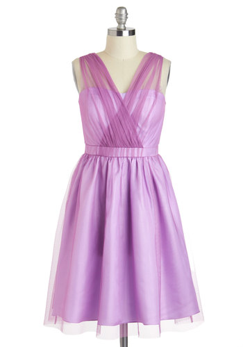 Lively in Lilac Dress - Purple, Solid, Tiered, Trim, Prom, Vintage Inspired, A-line, Sleeveless, Spring, Long, Wedding, Cocktail, V Neck, Luxe, Bridesmaid