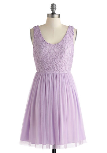 Sweet of the Moment Dress - Purple, Lace, Daytime Party, Solid, A-line, Tank top (2 thick straps), Scoop, Pleats, Wedding, Fairytale, Pastel, Spring, Mid-length, Bridesmaid, Graduation, Prom, Summer