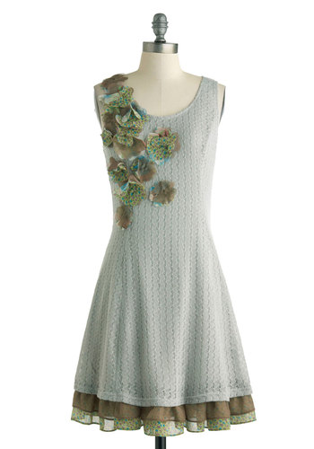 Arts and Class Dress by Ryu - Mid-length, Grey, Green, Flower, Tiered, Daytime Party, A-line, Sleeveless, Scoop, Spring