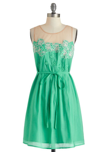 Sky Hibiscus Dress by Ryu - Mid-length, Green, Tan / Cream, Embroidery, Flower, Belted, Casual, Sleeveless, Scoop, Solid, Sheer