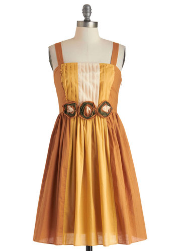 Eat, Praline, Love Dress by Ryu - Mid-length, Yellow, Tan / Cream, Gold, Flower, Pleats, Party, A-line, Spaghetti Straps, Daytime Party, Cotton