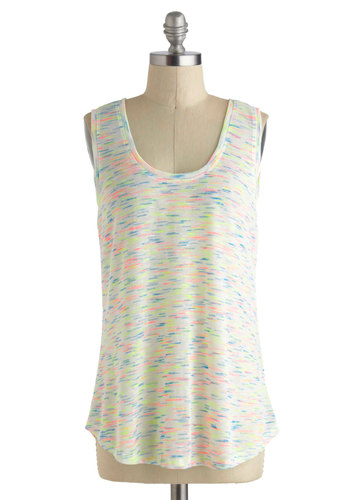 Let Sparks Fly Top - Mid-length, White, Print, Casual, Neon, Tank top (2 thick straps), Multi, Beach/Resort, Summer, Travel