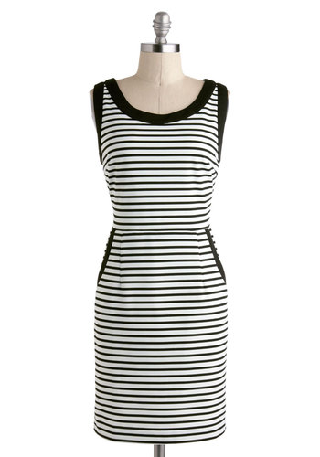 Houseboat Warming Dress - Short, Black, White, Stripes, Buttons, Cutout, Pockets, Casual, Shift, Sleeveless, Scoop, Spring