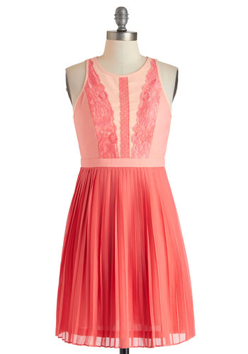 Applique Ballet Dress - Mid-length, Coral, Solid, Cutout, Lace, Pleats, Party, A-line, Sleeveless, Crew, Spring, Prom