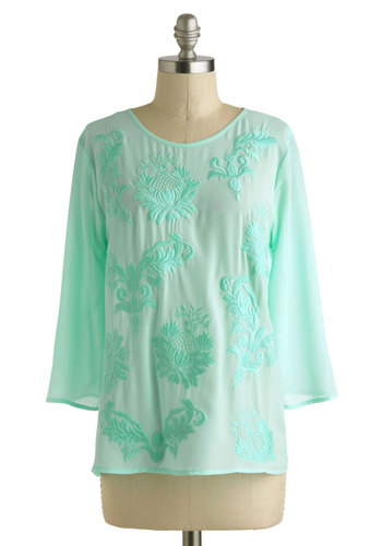 Meant to B&B Top - Mid-length, Mint, Print, Embroidery, Daytime Party, Casual, Beach/Resort, Pastel, 3/4 Sleeve, Sheer